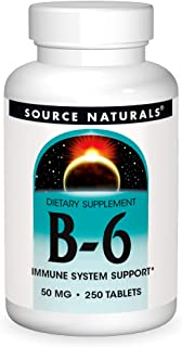 Source Naturals Vitamin B-6, 50 mg Immune System Support - 250 Tablets