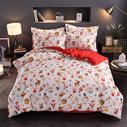 A Nice Night Christmas Deer Santa Claus Gifts Small Bells Printed Bedding Sets Quilt Cover Set No Comforter (Christmas-Style 08, Twin(Cover))