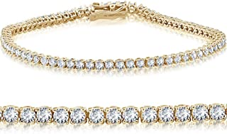 4ct Diamond Tennis Bracelet 14K Yellow Gold 7