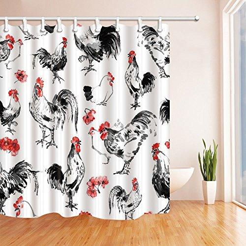 mintlmk Verheißungsvolles Dekor Aquarell Huhn Duschvorhang Polyester Stoff Badezimmer Dekorationen Bad Vorhänge Haken enthalten 71X71 Zoll