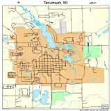 Large Street & Road Map of Tecumseh, Michigan MI - Printed poster size wall atlas of your home town