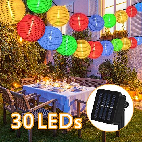 Nasharia Solar Lichterkette Lampions Außen 6 Meter 30 LED Laternen 2 Modi IP65 Wasserdicht Solar Beleuchtung Aussen für Garten, Hof, Hochzeit, Fest Deko (Mehrfarbig)