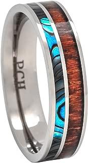 PCH Jewelers Titanium Hawaiian Koa Wood and Abalone Ring 6mm Band