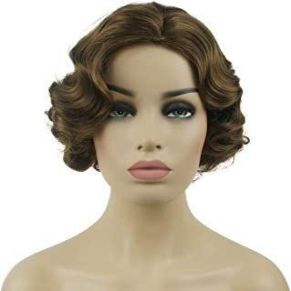 Lydell Vintage Cosplay Party Wig Short Finger Wavy Flapper Hairpiece +Free Wig Cap (#12 Lt Reddish golden brown)