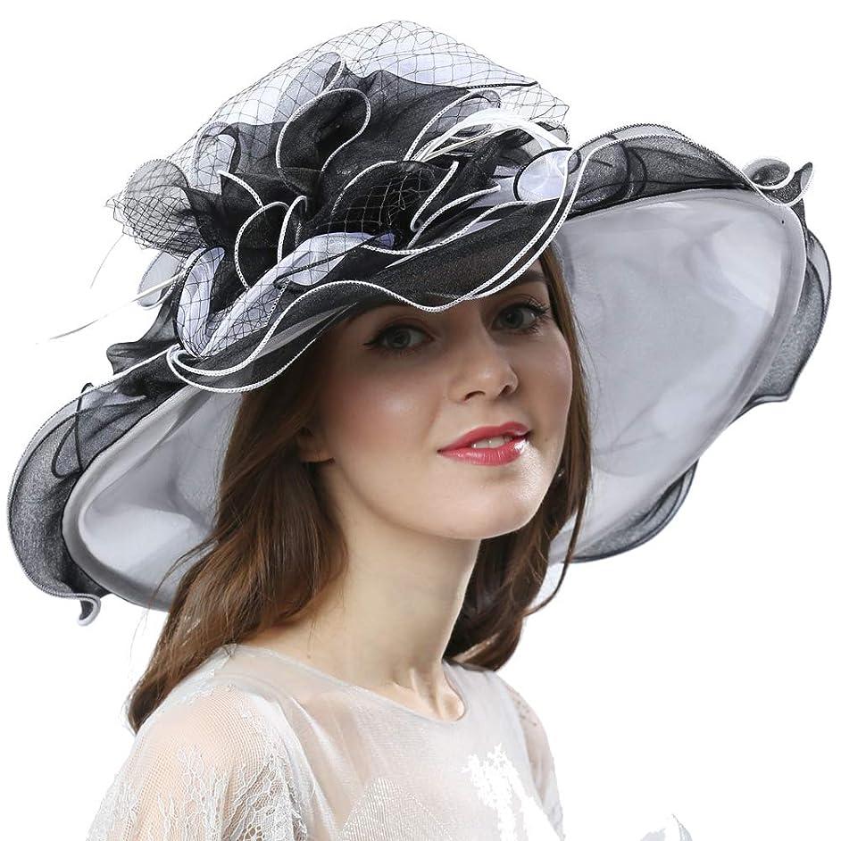 Women Dress Fantastic Fancy Feather Veil Floral Brim Hat Kentucky Derby Church Wedding Tea Party Cap