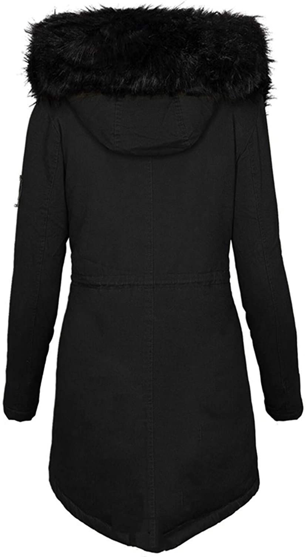 HGWXX7 Jacket for Women Zip Up Faux Fur Hood Parka Jacket Casual Plus Size Waist Drawstring Winter Coats with Pocket Black