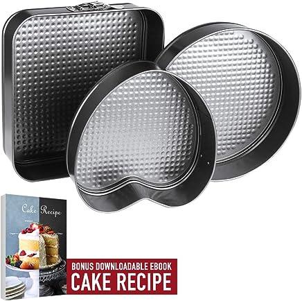 Springform Pan Baking Pans, Set of 3 Leakproof Cake Pans, Carbon Coated Steel Cheesecake