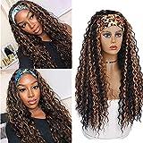 YEESHEDO Headband Wig Peluca de diadema negra con reflejos rubios Peluca rizada brasileña para mujeres negras Afro Kinky Curly Color natural 180% Densidad Cabello completo con 3 diademas 20 pulgadas