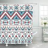 Stoff-Duschvorhang mit Haken Blau Ethnisch Buntes Navajo-Muster Indian Native Abstract American Aztec Chevron Dekoratives Badezimmer Behandelt, um einer Verschlechterung durch Mehltau zu widerstehen