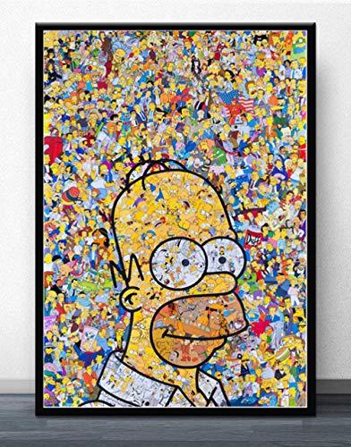 LDTSWES Simpsons Anime Jigsaw Puzzles, Puzzle en Bois de 1000 pièces, pour Les Jeux éducatifs pour Enfants Adultes Puzzle