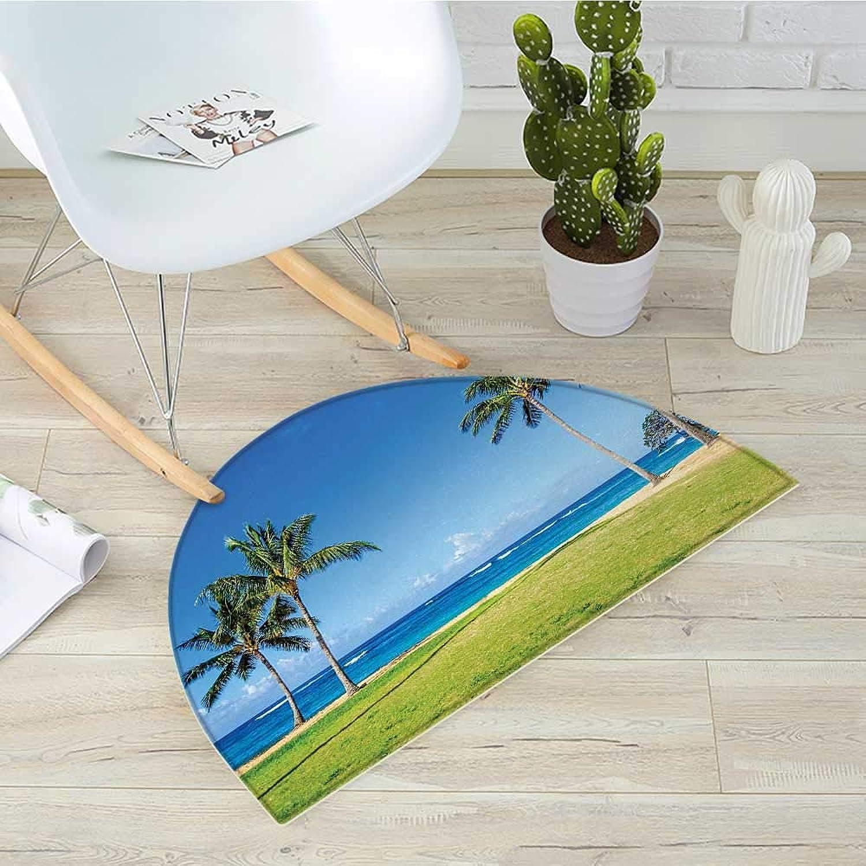 Hawaiian Semicircle Doormat Coconut Palm Trees and Lawn on The Sandy Poipu Beach in Hawaii Halfmoon doormats H 43.3  xD 64.9  Kauai Picturebluee Green