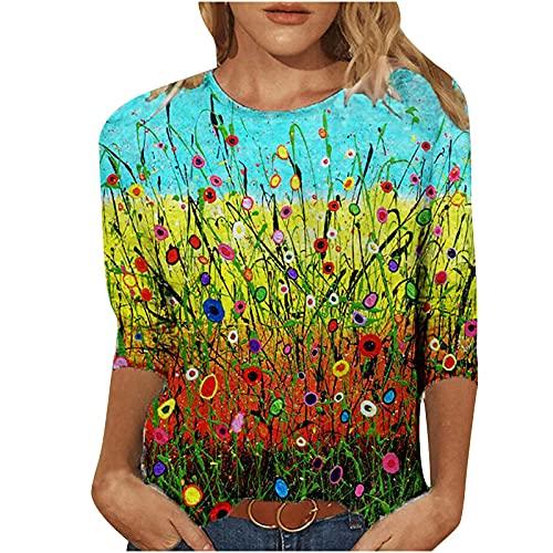 Camiseta de mujer vintage Clothes para verano, informal, cuello redondo, camiseta para mujer, sexy, primavera, estampada, manga 3/4, cuello redondo, informal, camiseta, Mujer, Green5, medium