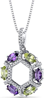 Amethyst and Peridot Hexagon Pendant Necklace Sterling Silver 1.5 Carats