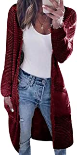 Minetom Cárdigan Suéter de Punto para Mujer Chaqueta Jersey de Suelta Frente Abierto Manga Larga Abrigo Largo para Otoño I...