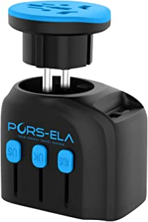 Travel Adapter, PORS-ELA Universal International Power Adapter with 2 USB Ports and 4000W High Power European Plug Adapter, Good for Hair Dryer Cell Phone Laptop in Over 190 Countries, Black