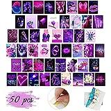 Kit Collage Pared Aesthetic, 50 Piezas Collage Fotos Carteles, Imágenes Estéticas Púrpura de Ensueño para Dormitorio, Habitación, Sala de Estar, Decoración de Pared (Hoja Individual de 10 x 15 cm)