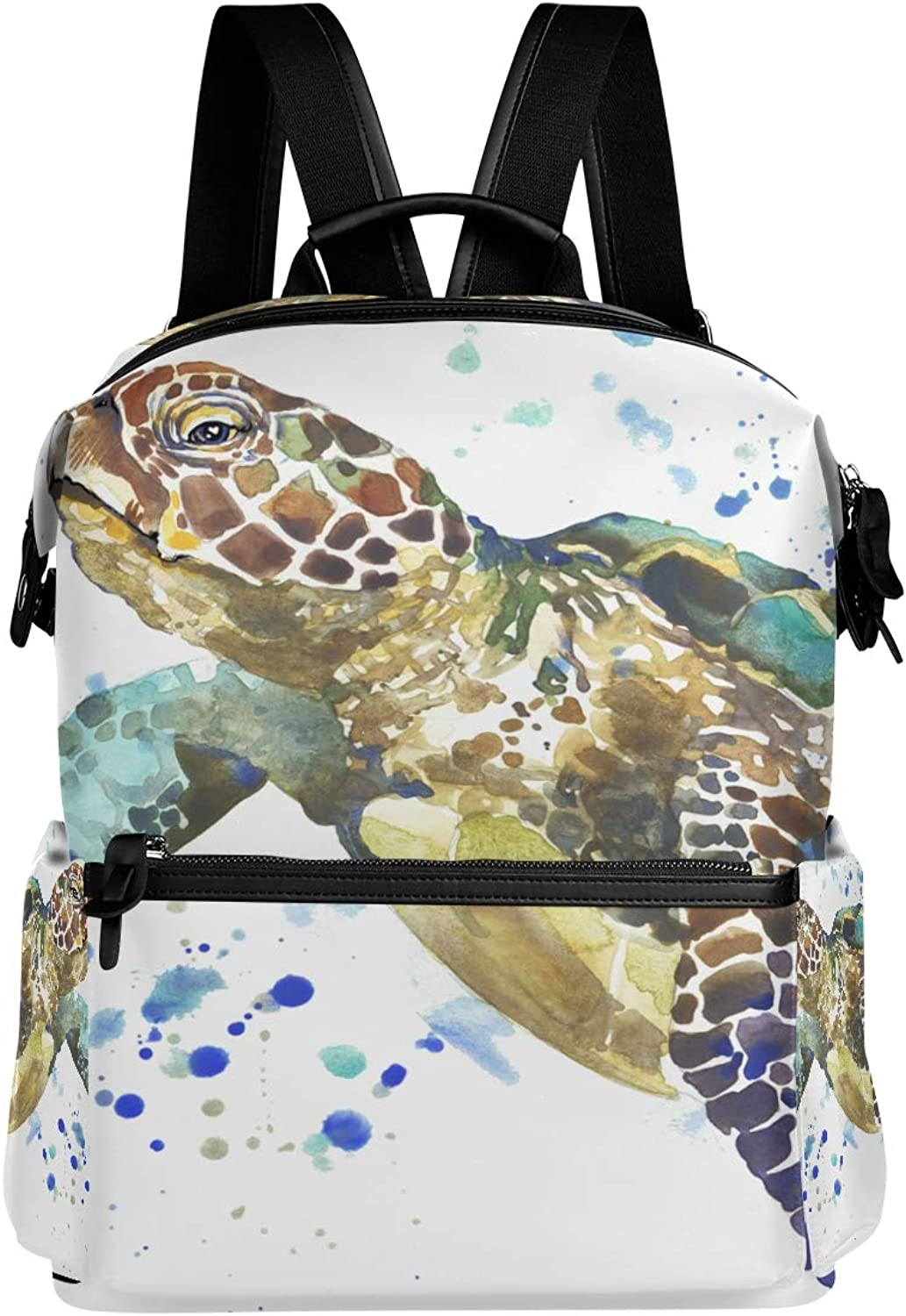 TFONE Watercolor Ocean Animal Sea Turtle Backpack Multifunction Durable Lightweight Book Bag Hiking Travel Daypack Casual Bags