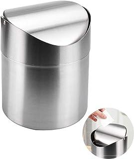 Mini Poubelle de en Acier Inoxydable 1.5L Mini Poubelle Table en Acier Inoxydable Poubelle avec Couvercle pour Cuisine Sal...