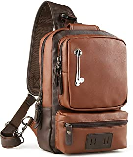 PU Leather Sling, Water-Resistant Cross Bag Anti-theft Shoulder Pack