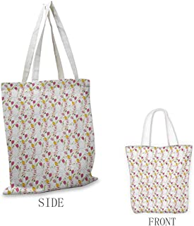 Colorful Pattern shopping bag Tulips and Poppy Flowers Romantic Arrangement Valentines Day Themed Illustration Great for shopping W15.75 x L13.78 Inch Multicolor