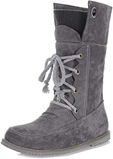 Veveca Women Round Toe Comfort Riding Bootie Casual Walking Short Martin Boot Lace Up Flat Combat Ankle Boots