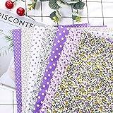 7 piezas de 50 * 50 cm tela de Algodón y lino utilizada para la decoración de costura artesanal telas patchwork DIY. (Morado)