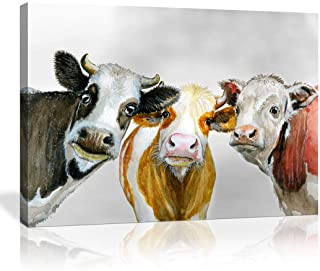 Cute Cow Bedroom Wall Art Rustic Funny Farm Cow Animal Decor Black and Red Yellow Three Heads Calf Cattle Dairy Wall Decor Paintings Home Decor Stretched and Framed Ready to Hang 1 Piece 20'' X 28''