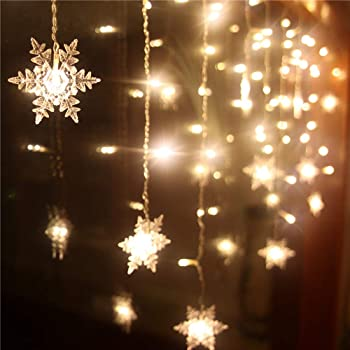 Amazon Com Senofun Christmas Warm White Snowflake Curtain Light Home Party Decoration Fairy Lights 16snowflake 80mini Led 9 85ft Light Color Chaging String Lights For Holiday Decor Battery Operated Garden Outdoor