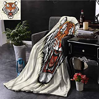 Homrkey Tiger Orange Throw Blanket Double-Sided Printing Ready to Attack in Jungle Bed Sleeping Travel Pets Reading W60 xL50