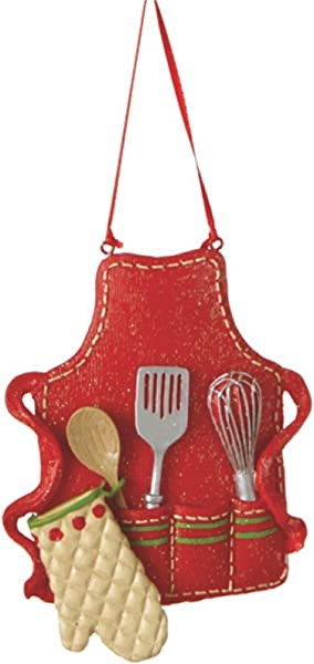 Midwest CBK Cute Christmas Holiday Pastry Chef Bakers Apron Ornament Red Medium 3 5 X 3