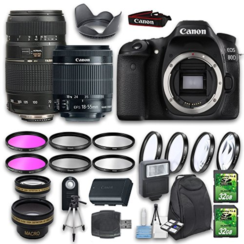 Canon EOS 80D DSLR Camera Bundle with Canon EF-S 18-55mm f/3.5-5.6 is Lens + Tamron Zoom Telephoto...