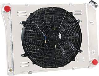 OzCoolingParts 68-87 Chevy & Oldsmobile & Pontiac Radiator Fan Shroud Kit, 3 Row Core Aluminum Radiator + 16