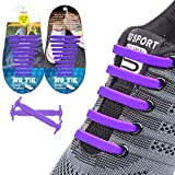 EZIGO 10+10 No Tie Shoelaces Upgraded Elastic Shoelaces for Adults/Kids Tieless Elastic Shoe Laces Waterproof Rubber Shoelaces for Sneakers Boots Board Shoes and Casual Shoes 20 Shoelaces Purple