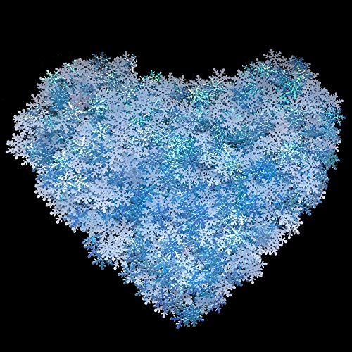 1200PCS Blue Snowflakes DIY Confetti for Wedding Birthday Christmas Holiday Winter Party Table Decorations Xmas Craft Supplies Favors