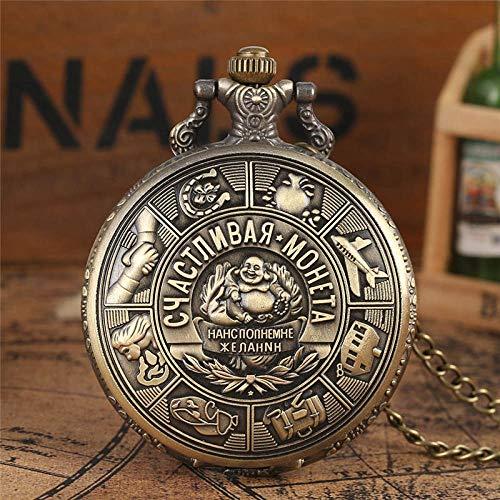 GHKUFH Taschenuhr Metallmünzen Kunst Präge Quarz Taschenuhr Russische Sammlermünzen Anhänger Uhren Kette Geschenk