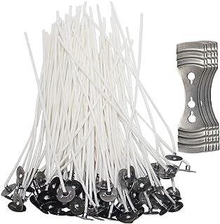 Senhai Lot de 200 Mèches de bougie avec 5 dispositifs de centrage, mèches en coton pré-ciré, 12cm, avec support en métal ...