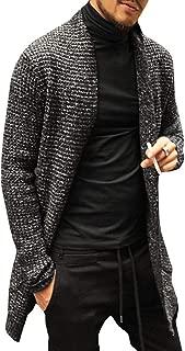 Karlywindow Mens Cardigan Sweater Open Front Shawl Collar Long Sleeve Fall Winter Knit Cardigans