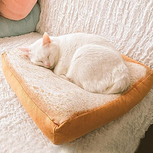Artlalic Cat Bed Mat Pet Bed Creative Toast Bread Foam Cushion for Cute Animal Catty and Doggy Sleeping Playing Resting (Foam)
