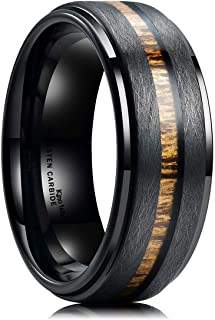 Nature 8mm Black Tungsten Carbide Wedding Band Real Wood...