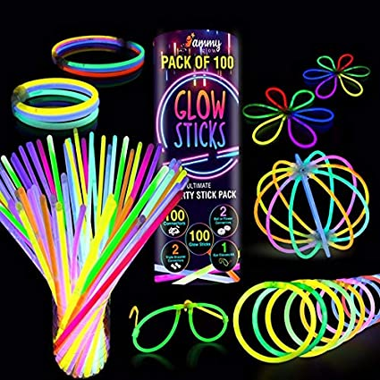 Premium Glow Sticks 100 Bulk Ultra Bright Glow Party Pack 8 inch with Connectors Camping Accessories 205 Pcs Glow Sticks Party Supplies Emergency Light Sticks Neon Glow Bracelets Necklaces for Kids