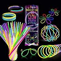 ⭐ Neon Leuchtstäbe-Set: Packung mit 100 mehrfarbigen, superhellen Leuchtstäben bietet eine Reihe von lebendigen Farben, einschließlich Gelb, Grün, Blau, Orange, Pink zusammen mit 100 Armbandverbindern, 2 Dreifachverbindern, 2 Kugelverbindern und 1 Br...