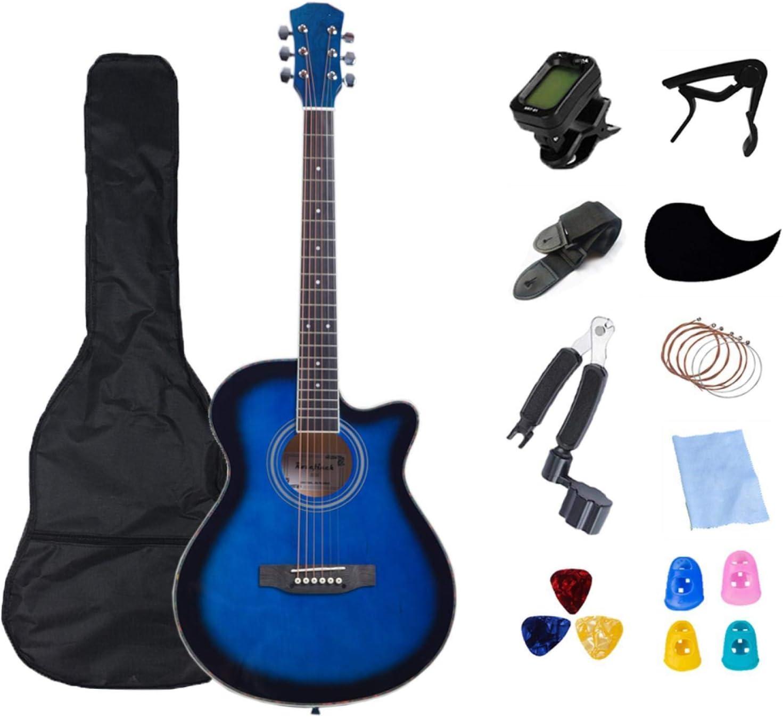 KEPOHK Guitarra eléctrica de cuerpo fino de 40 pulgadas para principiantes, bolsa acústica, cuerdas, selecciones, color de madera, 40 pulgadas, azul
