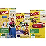 Glad Zipper Food Storage Bags - Sandwich Bag and Snack Bag Variety Pack - Disney Pack - 40 Count - 3 pack