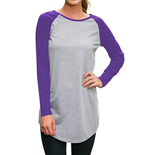 50879129 Halife Women's Round Neck Raglan Sleeve Long T-shirt Tunics Tops