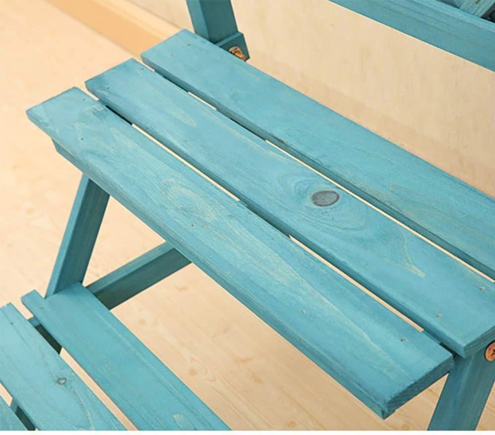 ZAHOYAN Maceta De Madera Maciza Soporte Macetero Azul Escalera Planta De Maceta Multicapa Estante De Exhibición Hierba Plantador De Flores,S: Amazon.es: Hogar