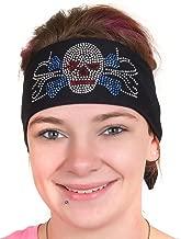 Doo Rag: Womens Wide Headbands: Biker Chick Hair Bandana: Skull (4 Colors)