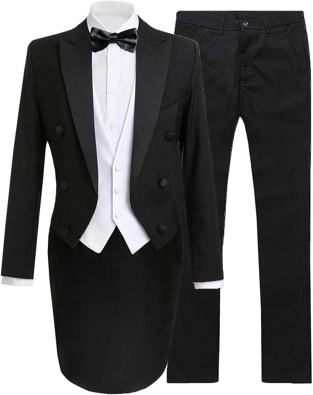 Wemaliyzd Men's 3 Pieces Wedding Tuxedo Suit Slim Fit V-Neck Vest Stright Pants