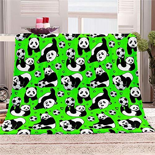 LIGAHUI Manta Polar con Flecos de Pompones Panda de fútbol Plaid Manta de Franela para el sofá Cama Apta para Todas Las Estaciones 70x100 cm