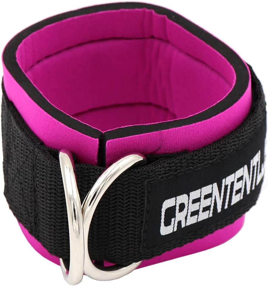 Greententljs Gym Ankle Straps for Cable Machines Fitness Padded Ankle Cuffs Strap Attachment Workout for Glute Exercises with Carry Bag