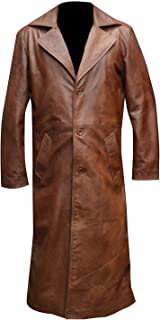KAAZEE Ben Affleck Brown Long Length Slimfit Classic Real Leather Trench Coat
